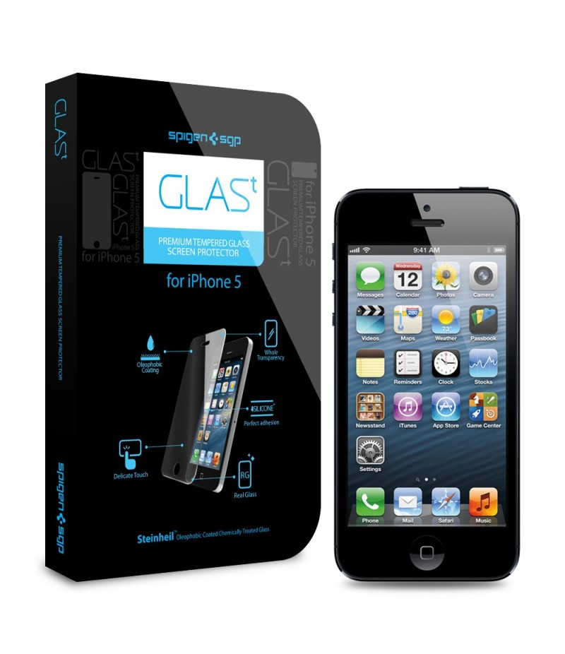 "Защитная пленка для iPhone 5/5S SGP Oleophobic Coated Premium Tempered Glass ""GLAS.t"""