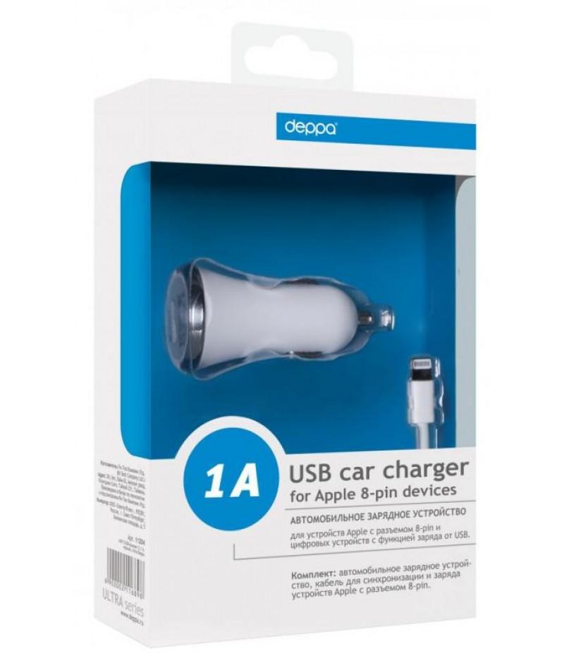 Автомобильное зарядное устройство для iPhone 5/5S Deppa Ultra USB 1A