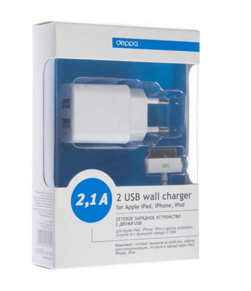 Зарядное устройство для iPhone 4S Deppa Ultra 2 USB 2.1A
