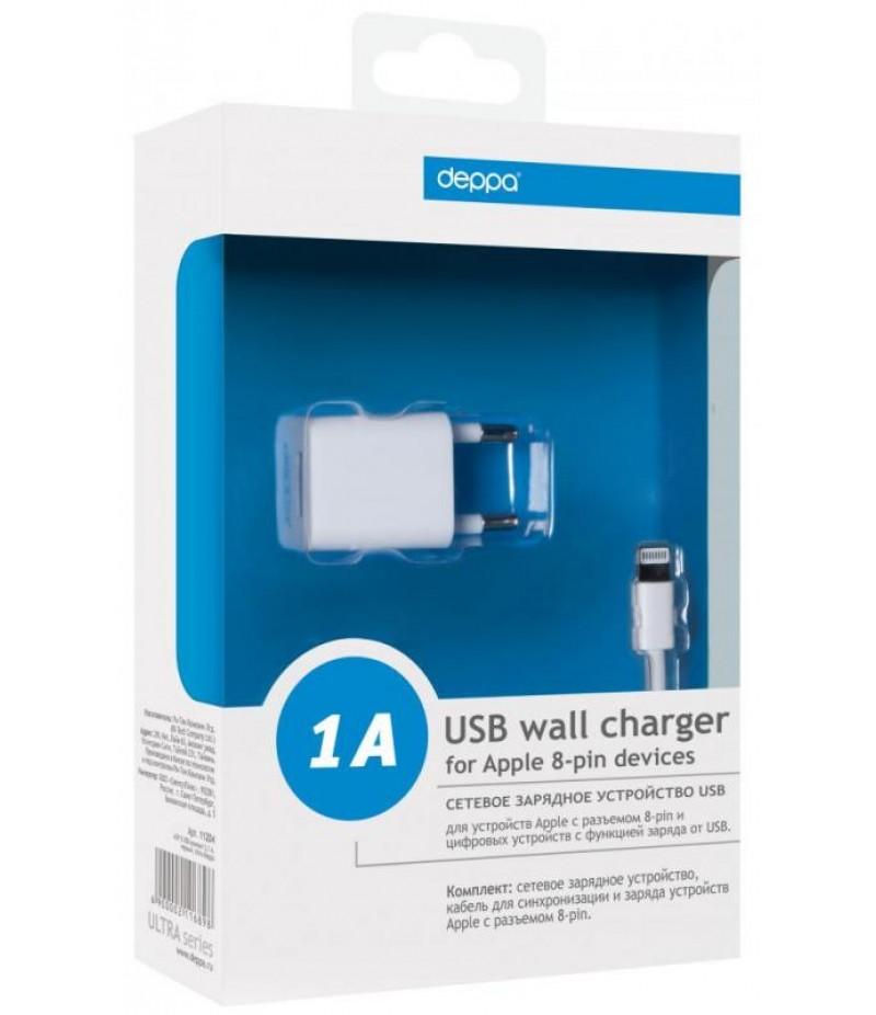 Зарядное устройство для iPhone 5/5S Deppa Ultra USB 1A