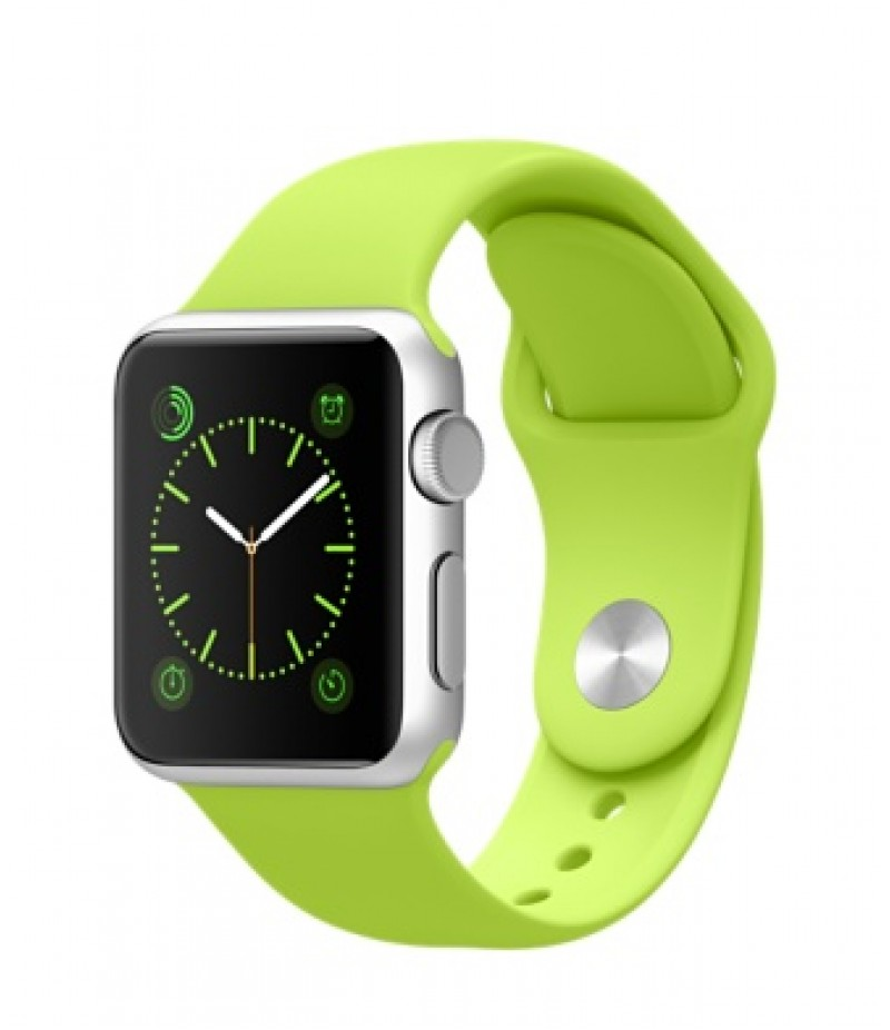Apple Watch Sport 38мм Silver Зеленый ремешок