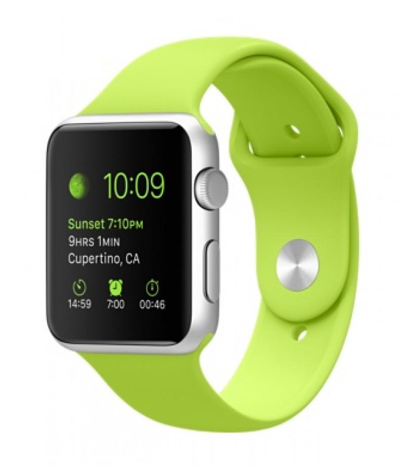 Apple Watch Sport 42мм Silver Зеленый ремешок