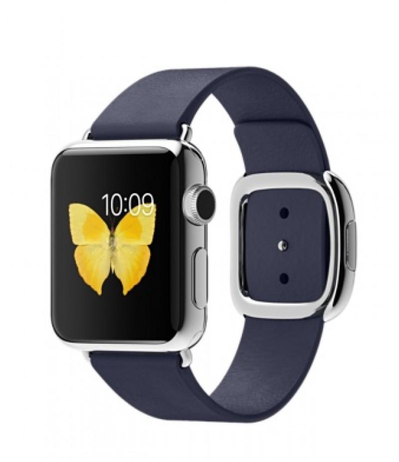Apple Watch 38мм Stainless Steel Темно-синий ремешок с современной пряжкой