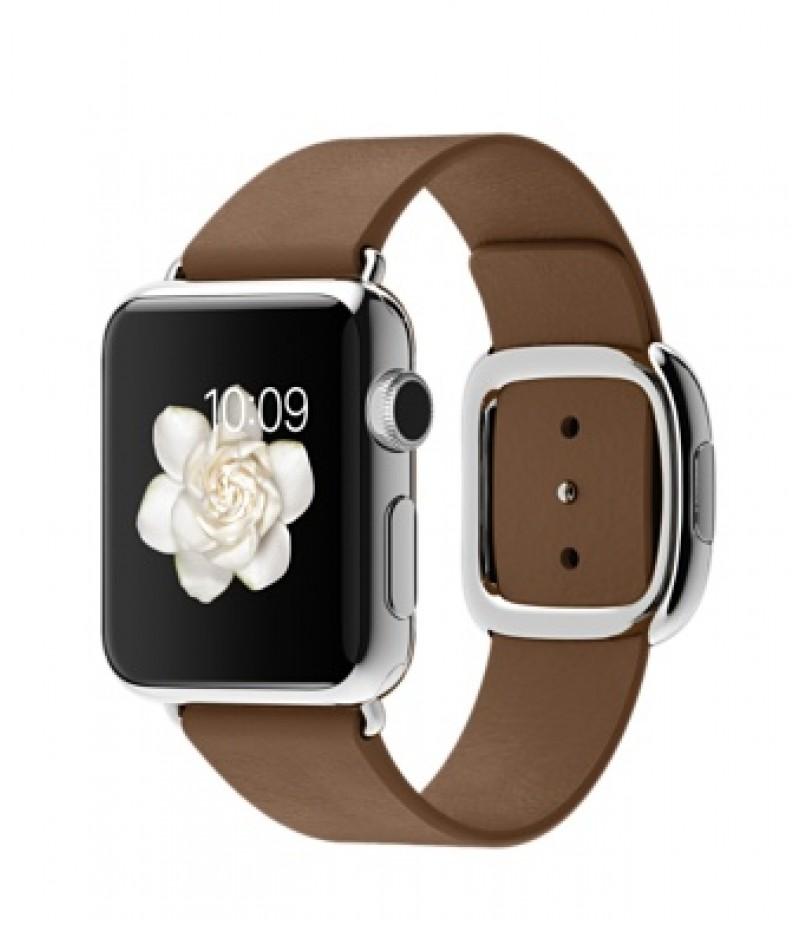 Apple Watch 38мм Stainless Steel Коричневый ремешок с современной пряжкой