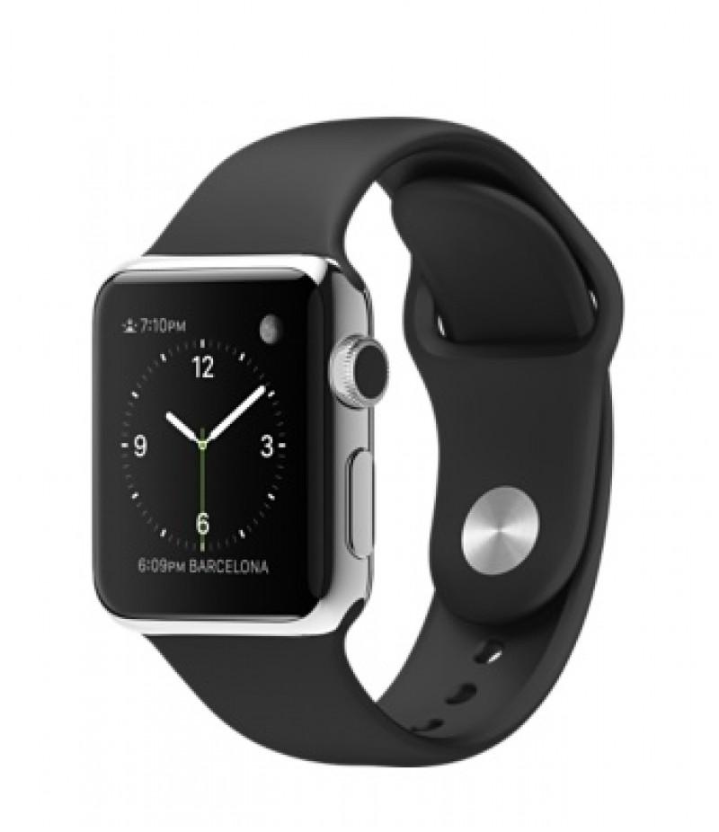 Apple Watch 38мм Stainless Steel Черный спортивный ремешок