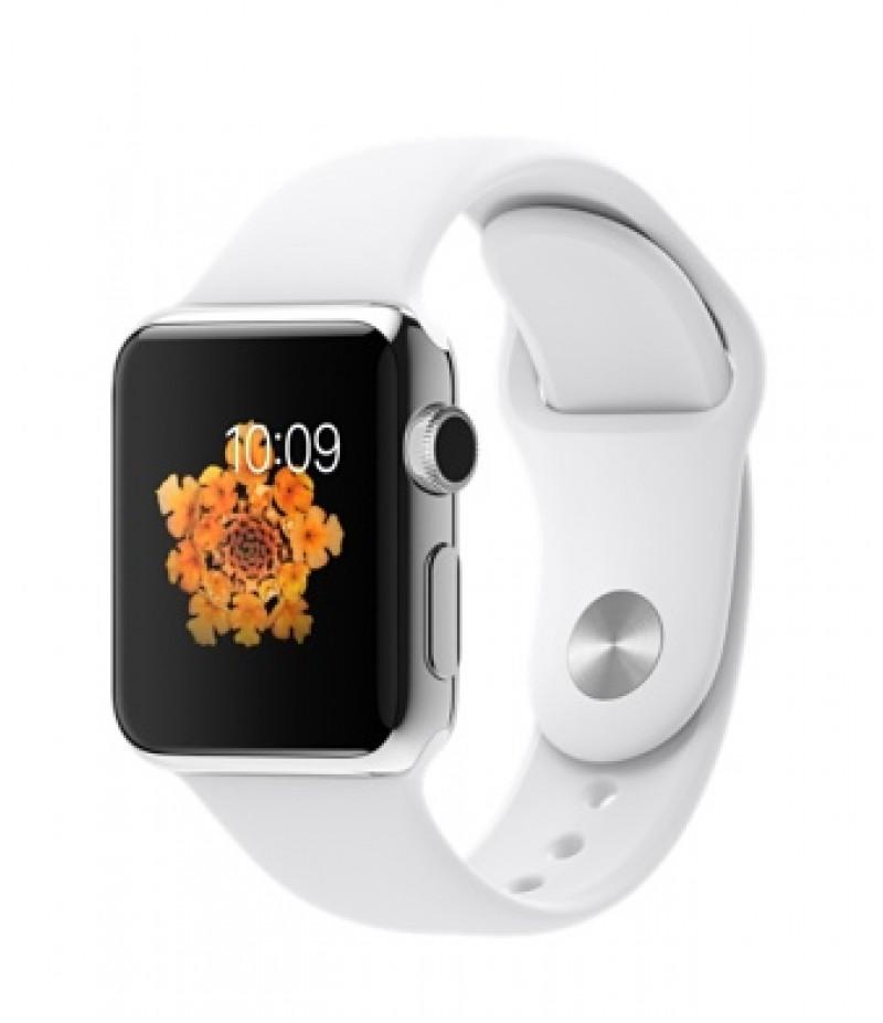 Apple Watch 38мм Stainless Steel Белый спортивный ремешок