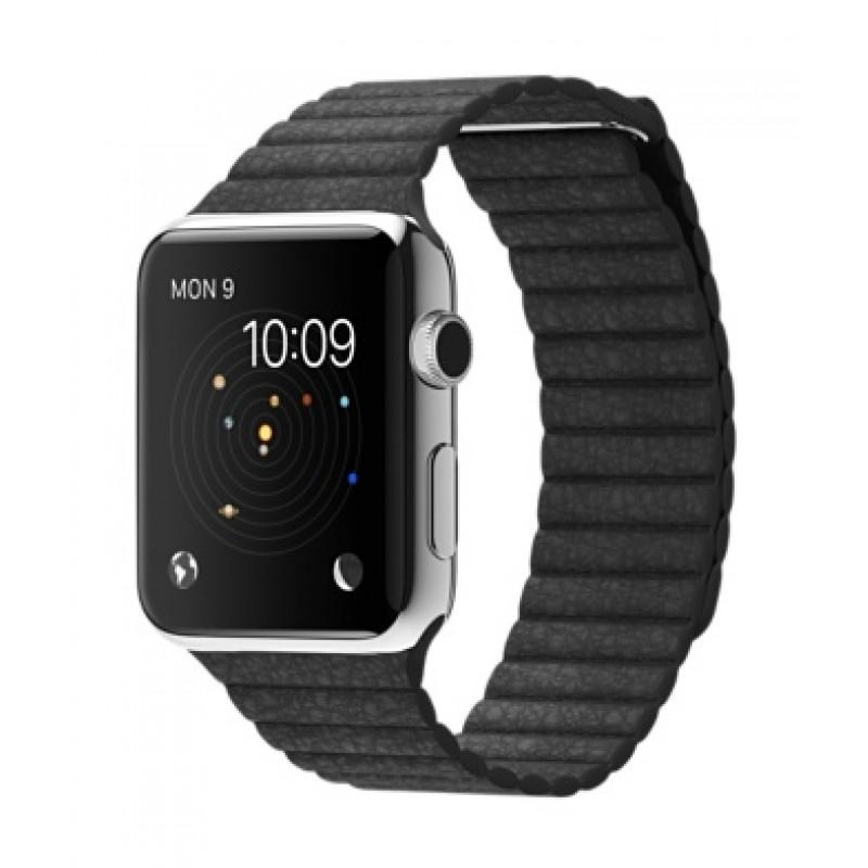 Apple Watch 42мм Stainless Steel Черный кожаный ремешок