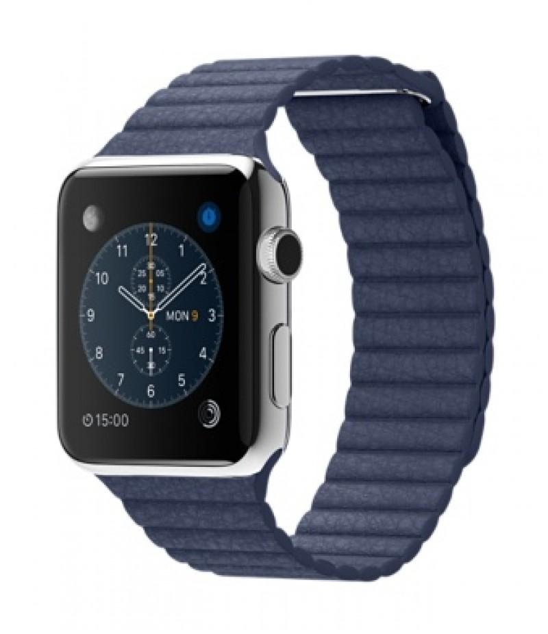 Apple Watch 42мм Stainless Steel Синий кожаный ремешок