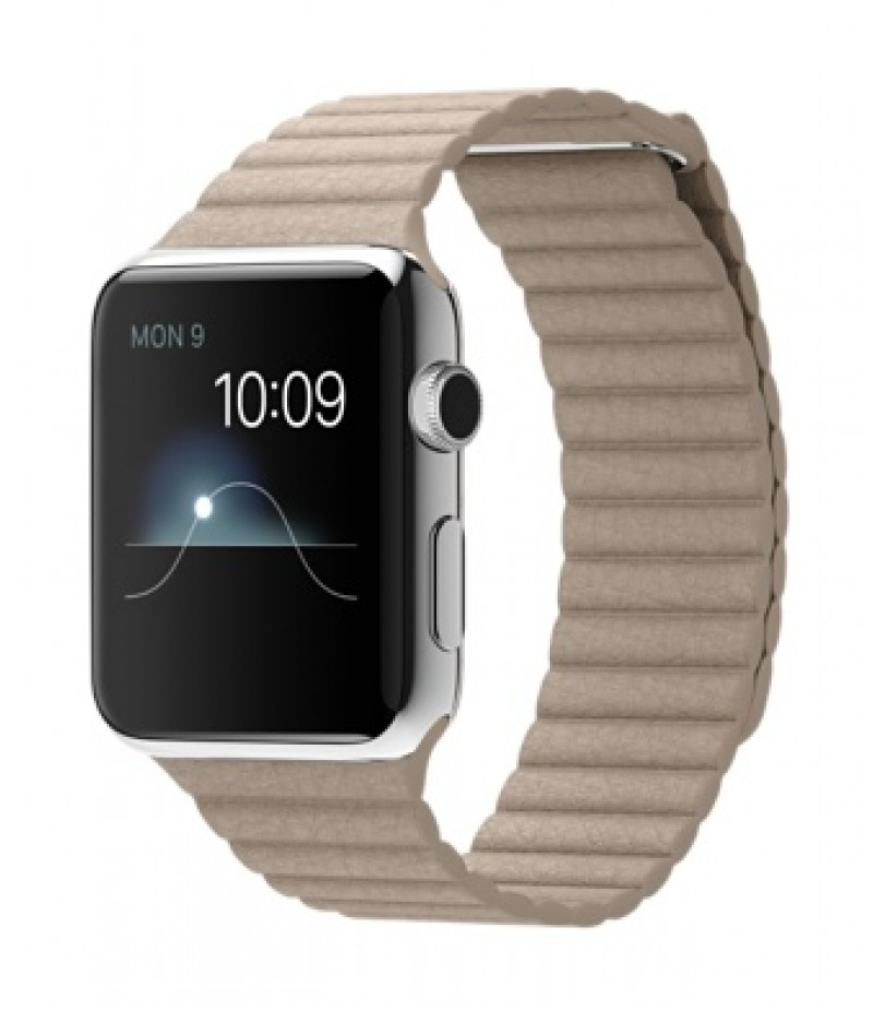 Apple Watch 42мм Stainless Steel Бежевый кожаный ремешок