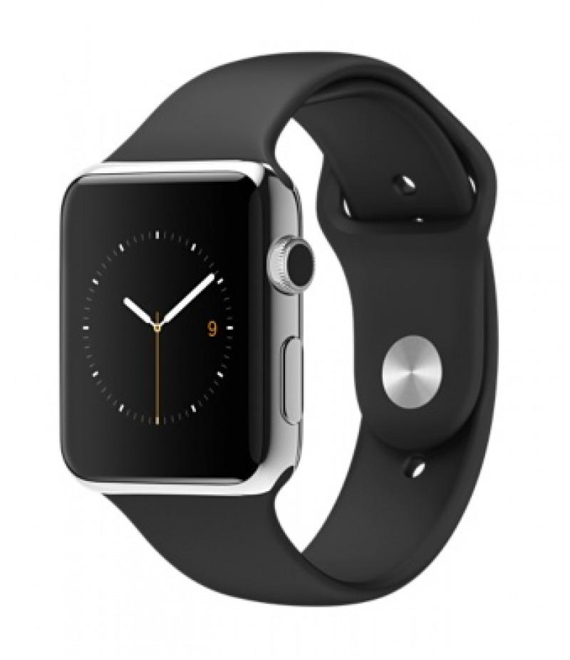 Apple Watch 42мм Stainless Steel Черный спортивный ремешок