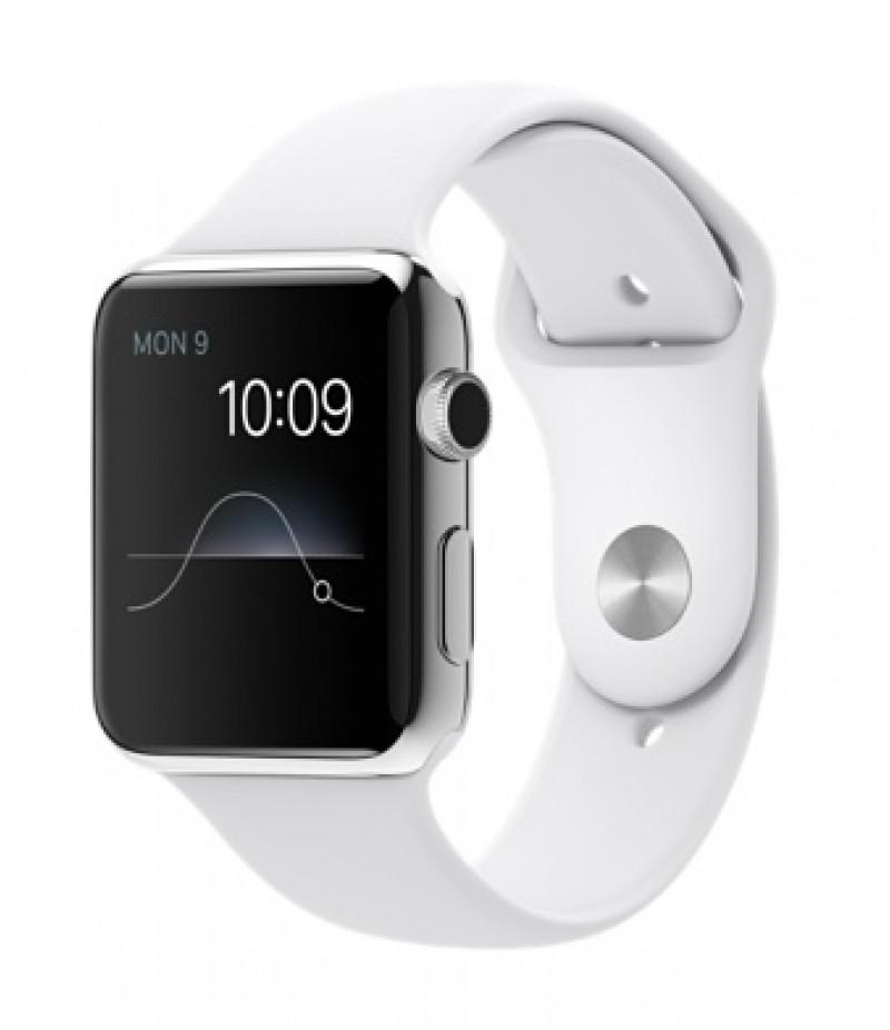 Apple Watch 42мм Stainless Steel Белый спортивный ремешок